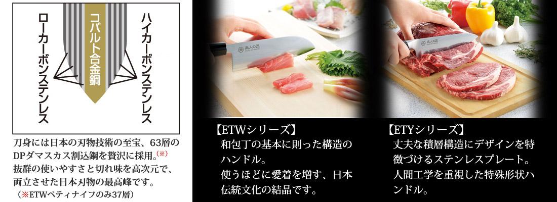 刀身には日本の刃物技術の至宝、63層のDPダマスカス割込鋼を贅沢に採用。抜群の使いやすさと切れ味を高次元で、両立させた日本刃物の最高峰です。